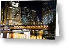 Chicago Dusable Michigan Avenue Bridge At Night Greeting Card