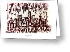 Chicago Great Fire Of 1871 Serigraph Of Skyline Buildings Sears Tower Lake Michigan John Hancock  Greeting Card