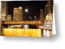 Chicago Michigan Avenue Dusable Bridge At Night Greeting Card