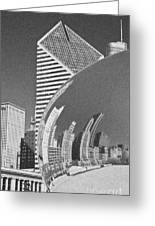 Chicago Reflection Bean Black And White Greeting Card