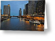 Chicago River At Twilight Greeting Card