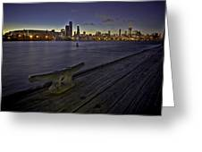 Chicago Skyline And Harbor At Dusk Greeting Card by Sven Brogren