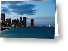 Chicago Skyline And Navy Pier At Dusk Greeting Card