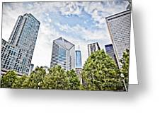 Chicago Skyline At Millenium Park Greeting Card