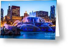 Chicago Skyline Buckingham Fountain High Resolution Greeting Card