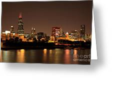 Chicago Skyline Downtown City Buildings At Night Greeting Card by Paul Velgos