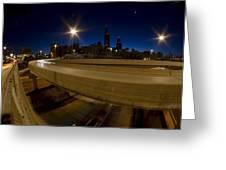 Chicago's Spaghetti Bowl Interchange At Dawn Greeting Card