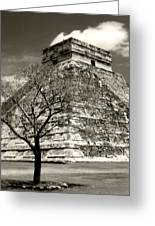 Chichen Itza Blk And White Greeting Card