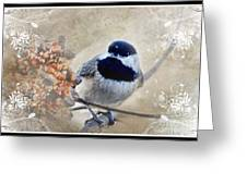 Chickadee Breakfast With Decorations Greeting Card