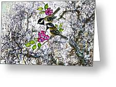 Chickadees In The Filbert Tree Greeting Card