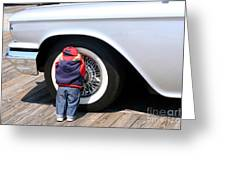 Child Doll Hiding Against Antique Car Greeting Card