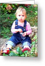Child In Garden Greeting Card