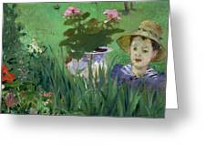 Child In The Flowers Greeting Card