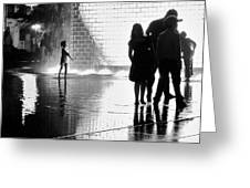 Child  Playing In Water Fountain Greeting Card
