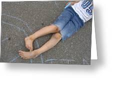 Childhood - Boy Draws With Chalk Greeting Card