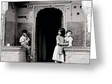 Childhood In Jaipur  Greeting Card