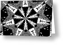 Children Animals Kaleidoscope Black And White Greeting Card