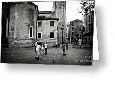 Children At Play In A Venice Piazza Greeting Card