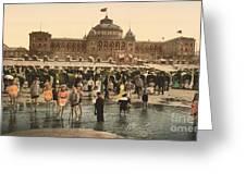 Children At The Scheveningen Beach And Kursaal Greeting Card
