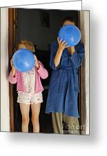 Children Blowing Up Balloons Greeting Card