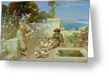 Children By The Mediterranean  Greeting Card