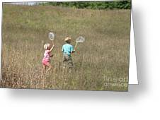 Children Collecting Insects Greeting Card by Ted Kinsman