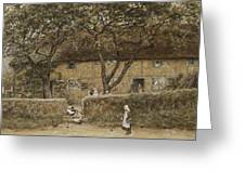 Children Outside A Cottage Greeting Card