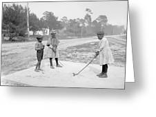 Children Playing Golf Greeting Card