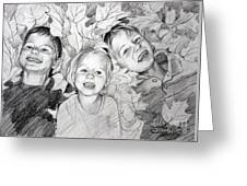 Children Playing In The Fallen Leaves Greeting Card