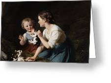 Children With Kitten Greeting Card