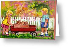 Chilrens Art-boy And Girl With Wagon And Puppies Greeting Card
