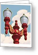 Chinatown Street Light Greeting Card by Mitch Frey