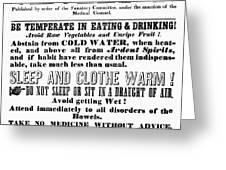 Cholera Broadside 1849 Greeting Card