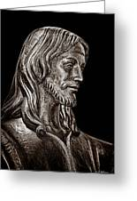 Christ In Bronze - Bw Greeting Card