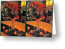 Christmas Arrangement - Gently Cross Your Eyes And Focus On The Middle Image Greeting Card