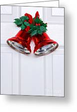 Christmas Bells On A White Door Greeting Card