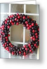 Christmas Cherry Wreath Greeting Card