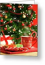 Christmas Cookies  Near The  Tree  Greeting Card