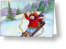 Christmas Joy Child On Sled Greeting Card