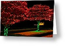 Christmas Lights Red And Green Greeting Card