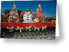 Christmas Snowman On Rails Greeting Card