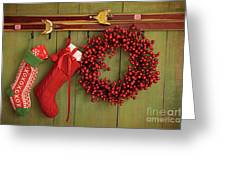 Christmas Stockings And Wreath Hanging On  Wall Greeting Card