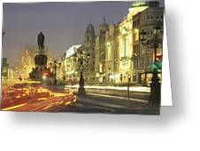Christmas Traffic On Oconnell Street Greeting Card