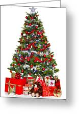 Christmas Tree And Presents Isolated On White Greeting Card