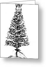 Christmas Tree Bw Greeting Card