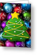 Christmas Tree Cookie With Ornaments Greeting Card