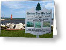 Christmas Tree Ship Point At Algoma Harbor Greeting Card by Mark J Seefeldt