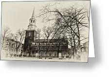 Christs Church Philadelphia In Sepia Greeting Card