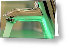 Chrome Sink Tap With Running Water Greeting Card