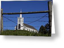 Church And Barbed Wire Greeting Card